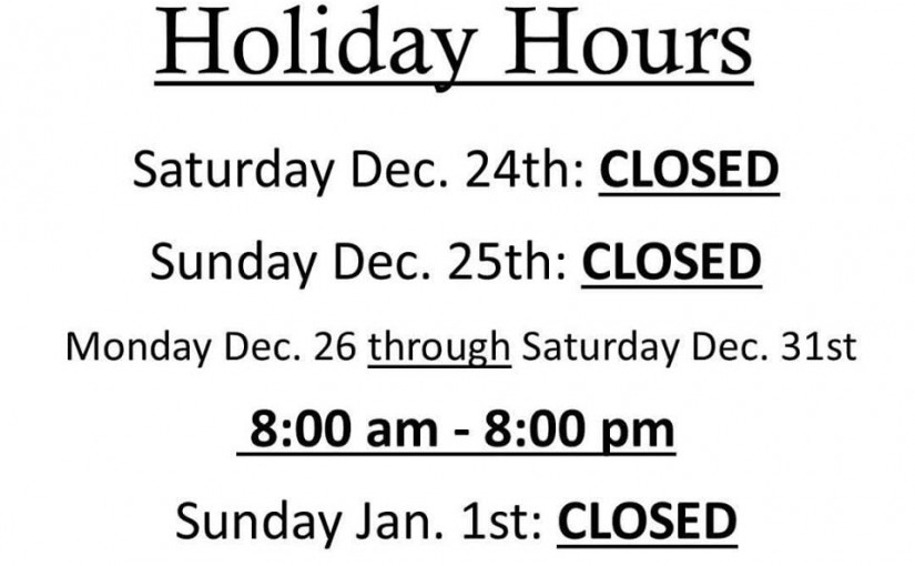 2016/2017 Holiday Hours